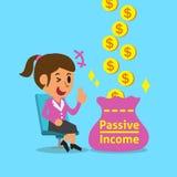 Donna di affari del fumetto che guadagna reddito passivo Immagini Stock Libere da Diritti