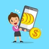 Donna di affari del fumetto che per mezzo dello smartphone per guadagnare soldi Immagine Stock Libera da Diritti