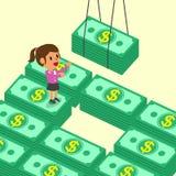 Donna di affari del fumetto che riceve le pile dei soldi Immagini Stock