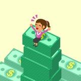 Donna di affari del fumetto che si siede sulle pile dei soldi Immagine Stock