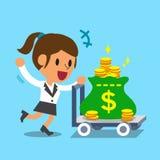 Donna di affari del fumetto che spinge il carrello dei soldi Immagini Stock