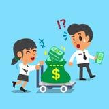 Donna di affari del fumetto che spingono il carrello dei soldi ed uomo d'affari che porta i certi soldi Fotografie Stock