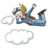 Donna di affari del paracadute Fotografia Stock Libera da Diritti