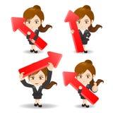 Donna di affari dell'illustrazione del fumetto con la freccia illustrazione di stock