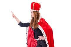 Donna di affari della donna che posa come la regina ha isolato Fotografia Stock