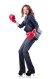 Donna di affari della donna con i guantoni da pugile Fotografie Stock