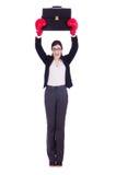 Donna di affari della donna con i guantoni da pugile Fotografia Stock