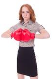 Donna di affari della donna con i guantoni da pugile Fotografie Stock Libere da Diritti