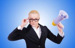 Donna di affari della donna con l'altoparlante su bianco Immagine Stock