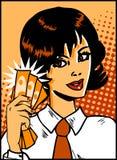 Donna di affari di arte di schiocco illustrazione di stock