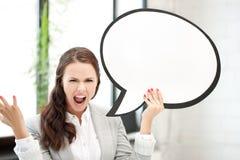 Donna di affari di grido con la bolla in bianco del testo Fotografie Stock