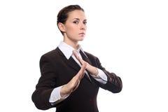 Donna di affari di karatè Immagini Stock Libere da Diritti