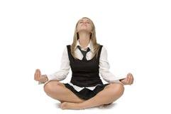 Donna di affari di meditazione Immagine Stock Libera da Diritti