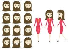 Donna di affari di modo con le espressioni multiple royalty illustrazione gratis