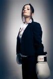 Donna di affari di pugilato Immagini Stock