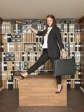 Donna di affari di salto Immagini Stock Libere da Diritti