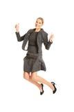 Donna di affari di salto allegra Fotografie Stock Libere da Diritti