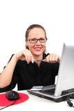 Donna di affari di Smilling con la penna in mani Fotografia Stock