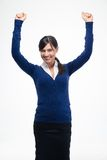Donna di affari di successo che celebra il suo vincitore Immagine Stock