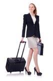 Donna di affari di viaggio isolata Immagini Stock