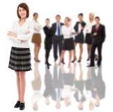Donna di affari e la sua squadra fotografie stock libere da diritti