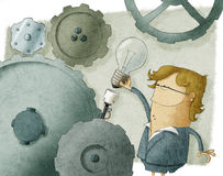 Donna di affari e lampadina Immagine Stock