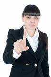 Donna di affari e schermo attivabile al tatto Fotografia Stock Libera da Diritti
