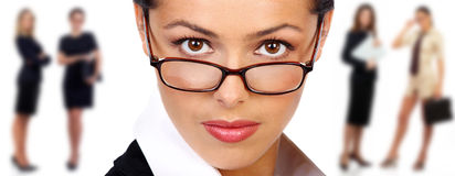 Donna di affari e squadra Immagini Stock Libere da Diritti