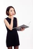 Donna di affari e taccuino Fotografia Stock Libera da Diritti
