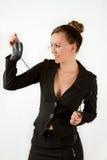 Donna di affari e un mouse del calcolatore Fotografie Stock