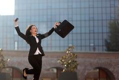 Donna di affari emozionante Fotografia Stock