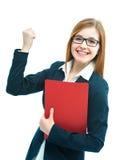 Donna di affari emozionante Fotografie Stock