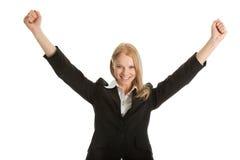 Donna di affari emozionante che celebra successo Fotografie Stock Libere da Diritti