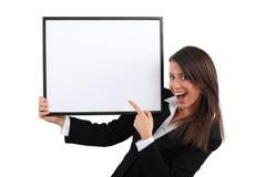 Donna di affari entusiastica Immagini Stock