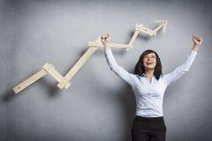 Donna di affari estatica davanti al grafico commerciale ascendente Fotografia Stock Libera da Diritti