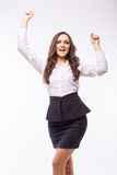 Donna di affari euforica e giovane Expression di successo Fotografia Stock