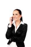 Donna di affari felice che comunica sul telefono. Isolato Immagine Stock Libera da Diritti