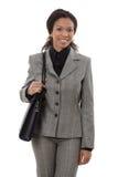 Donna di affari felice con il sacchetto di spalla Fotografia Stock Libera da Diritti