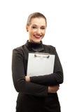 Donna di affari felice isolata su bianco Immagine Stock
