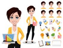 Donna di affari, free lance, banchiere Bella signora in abbigliamento casual illustrazione di stock