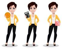 Donna di affari, free lance, banchiere Bella signora in abbigliamento casual illustrazione vettoriale