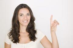 Donna di affari futura delle soluzioni di affari in interfa fotografia stock