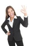 Donna di affari GIUSTA del segno Immagini Stock