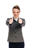 Donna di affari Giving Two Thumbs su Fotografia Stock Libera da Diritti
