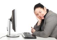 Donna di affari grassa felice Fotografia Stock
