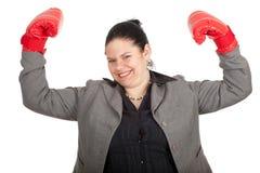 Donna di affari grassa nei guanti di inscatolamento Fotografia Stock Libera da Diritti