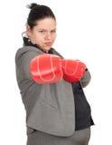 Donna di affari grassa nei guanti di inscatolamento Fotografia Stock