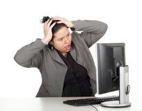 Donna di affari grassa scossa Fotografia Stock