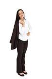 Donna di affari graziosa che sorride alla macchina fotografica Immagine Stock