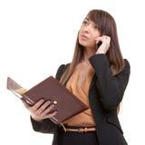 Donna di affari graziosa sulla telefonata Fotografia Stock